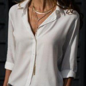 Long Sleeve Turn Down Collar Blouse